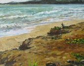 Coconuts on the Sand, original plein air oil painting, Puerto Rico
