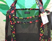Tote Bag Cherry and White Polka Dot Fabric and Vinyl Mesh Tote Bag