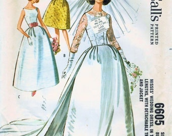 1960s McCall's 6605 Sewing Pattern Misses' Wedding Dress with Detachable Train and Jacket Size 12 Bust 32