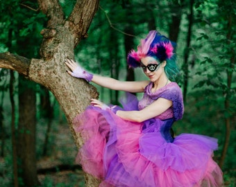 Two Toned Color Tulle Skirt ONLY- Adult Halloween Costume- Cheshire Cat Fairy Petticoat Fairytale- Custom to order