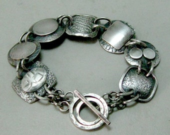 Sterling Silver Art Deco Hand Forged Oxidized Medallion Bracelet, Artisan Handmade Bracelet