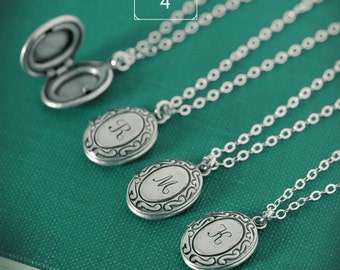 QUANTITY of 4 - Personalized Tiny Initial Locket Necklace with Your Letter on Sterling Silver Chain, Bridesmaid Gifts, Bridal Party