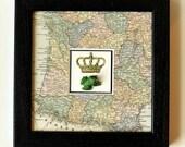 Framed 3D ARTWORK. Come Kiss Me. Frog Prince / Crown Prince / Toad / Art using 1898 Vintage Map of France