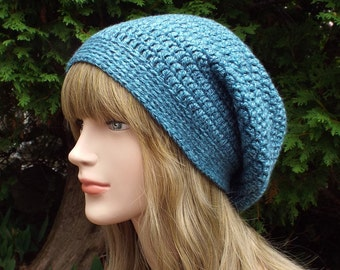 Teal Heather Slouchy Beanie, Womens Crochet Hat, Blue Slouch Beanie, Oversized Hipster Hat, Slouch Hat, Baggy Beanie, Slouchy Hat