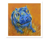 Baby Hippo Druck, Zoo-Tier, Kindergarten Kunstdrucke, Orange Art, Wildlife Artwork