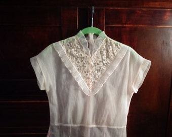 Sheer blouse with lace Pleated blouse  Pink sheer blouse  X small blouse