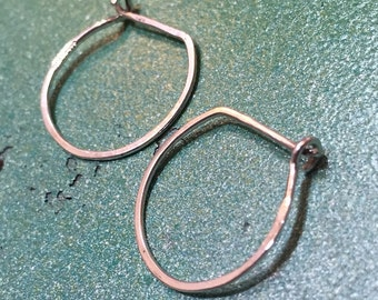 Ultimate sterling silver continuous wire hoop earrings Medium 20 gauge - wear all day and night comfortable- charm hoops