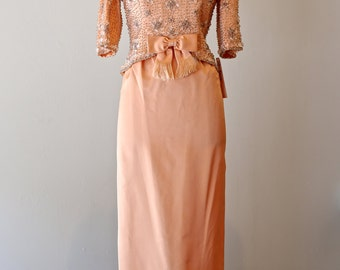 Vintage 1960s Beaded Gown By Victoria Royal Ltd. ~ Vintage 60s Peach Silk Dress ~ Vintage 1960s Evening Gown