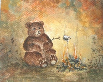 Bear with his Campfire/Tiny Mini Original Painting