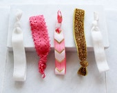 Coral Chevron Set - 5 Glitter, Printed + Solid Elastic Hair Ties in Coral, Gold + White by Mandizzle - PREORDER