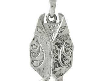 Origami Wise Owl Sterling Silver Pendant -- Complimentary Ribbon or Cord