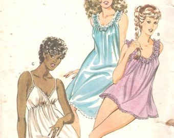 Kwik Sew 1247 1980s Misses Nightgown Panties Pattern NEGLIGEE Baby Dolls Scoop Neck Womens  Sewing Pattern Size xs s m l  Bust 31 - 41 UNCUT