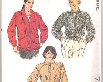 Vogue 7867 1980s  Misses Jacket  Pattern Anorak Womens Vintage Sewing Pattern Size 10 Bust 32 UNCUT