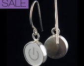 Computer Key Jewelry - rePURPOSED MacBook Power Standby Symbol Sterling Dangle Earrings