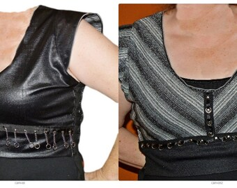 Black Reversible Belly Dance Vest Handmade