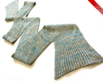 ON SALE Golden blue scarf knit bamboo skinny scarf