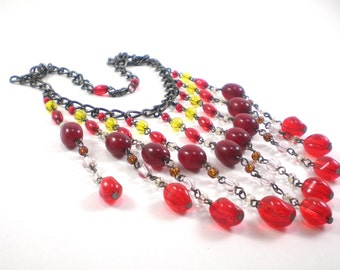 Glass Bib Necklace Red Black Yellow Colorful Vintage Boho Chic Jewelry