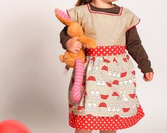 TOADSTOOLS & BUNNIES girls dress, autumn dress, fall dress, toddler dress, baby girl dress, corduroy dress, woodland dress, party dress