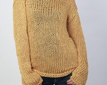 Hand knit sweater Eco cotton long sweater Mustard Yellow Top