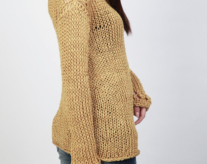 Hand knit sweater eco cotton pulled over sweater Mustard yellow top
