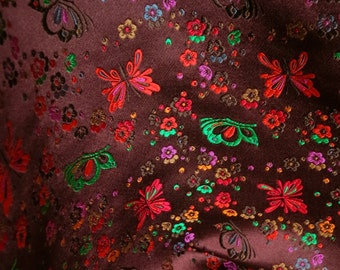 Pure Silk Brocade Remnant -Tie Fabric - Colourful Flowers Butterfly Design on Chocolate Brown