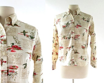 Vintage 60s Blouse / Duck Hunt Novelty Print Blouse / 1960s Blouse / Large L