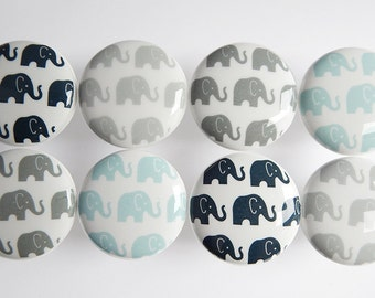 Elephant Drawer Knobs, Elephant Knobs, Blue and Gray Elephant Drawer pulls, 1.5""