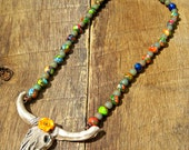 Dixie - Rustic Cow Skull Necklace country western cowgirl farm girl chic longhorn steer head orange turquoise yellow green blue red rainbow