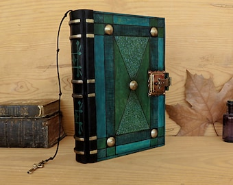 "Leather Journal with Lock and Key, Blue and Green Leather - ""The Turquoise"""