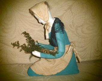Handmade Primitive Folk Art Stump Doll - Giving Thanks