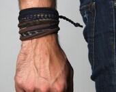 Mens Wrap Bracelet, Mens Bracelet, Blue Brown Bracelet, Mens Jewelry, Bracelet, Jewelry, Men Gift, Tribal, Mens Gift, Gift For Men, For Him