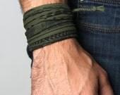For Him, Bracelets, Green Bracelet, Mens Jewelry, Bracelet Mens, Wrap Bracelet, Men Gift, Tribal, Mens Gift, Gift For Men, Men Bracelet, Men