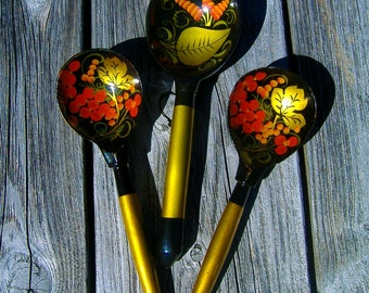 Vintage Russian Wooden Khokhloma Spoon USSR 1970 Hand Painted Hand Carved Folk Art Set of Three