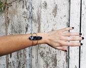 Sodalite Axis Cuff // cobalt, navy, blue, stone, wand, point, bracelet, brass, silver