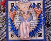 Mini Bingo card with Uncle Sam and God Bless the USA banner by STACY MARIE