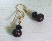 Pearl Earrings: Simple Wire-Wrapped Cranberry FWP and Jet Crystal Dangles w/14Kt GF Ear Hooks