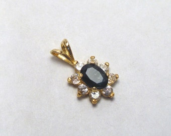 Sapphire Cluster Pendant in 14 Kt Yellow Gold ~ 1 ct Genuine Deep Blue Oval Sapphire ~ September Birthstone