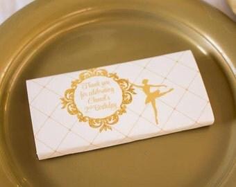 GLITTERY GOLD BALLERINA Printable Candy Wraps