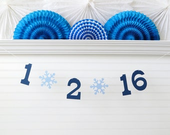 Winter Save the Date Banner - 5 Inch Numbers with Snowflakes - Winter Wedding Garland Save the Date Photo Prop Snow Wedding Date Banner