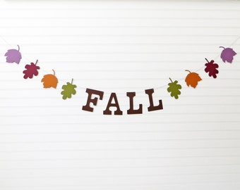 Fall Banner - 5 inch Letters with Leaves - Fall Home Decor Fall Leaf Garland Fall Decoration Leaf Garland Autumn Banner Fall Leaves Garland