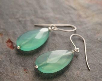 Green Agate Earrings, Agate Drop Earrings, Agate Jewelry, Drop Gemstone Earrings