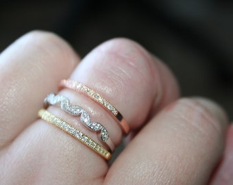 925  Ring /band 1 STACK-ABLE Gold  Over 925  with  white topaz   Size 9  -STUNNING