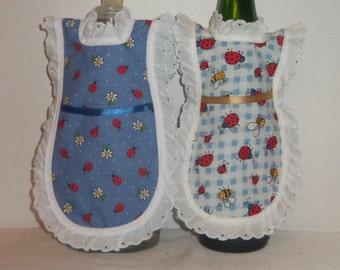 Dish Soap Apron, Bumble Bee, Lady Bug, Daisies, Dish Soap Cozy,  Wine Bottle, Detergent Cover, Mini Apron, Kitchen Décor, Eyelet Lace