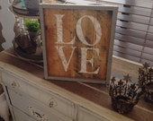 Framed Pallet Sign-LOVE-Reclaimed Wood-Natural Wood with White Love, Grey Frame-Wall Hanging-Home Decor