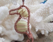 Seahorse ornament - English sea glass necklace - eco friendly suncatcher - on clearance