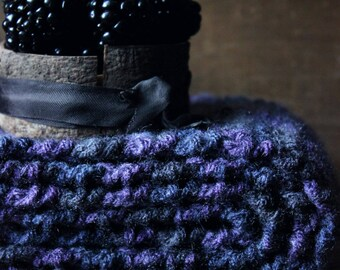 The Hexum Manor Storyteller Scarf. Rustic Folk Bohemian Gypsy Hand Crocheted Violet Charcoal Wrap Scarf.