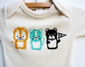 Oh My - lion tiger and bear, organic, screen printed baby bodysuit, Wizard of Oz, gender neutral baby gift