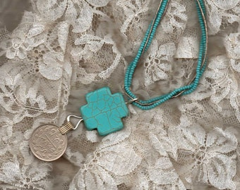 """Tribal, Turquoise Necklace, """"Bones"""" Style Necklace"""