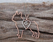 French Bulldog Necklace, Copper Dog, Pet Jewelry, Wire Jewelry