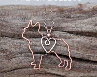 French Bulldog Necklace, Copper Dog, Pet Jewelry, Wire Jewelry